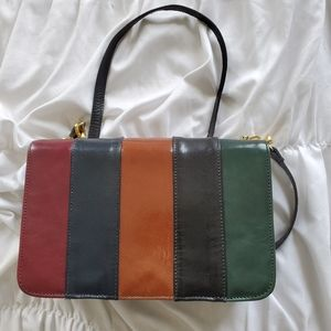 Vintage Simone Striped Leather Color Block Purse